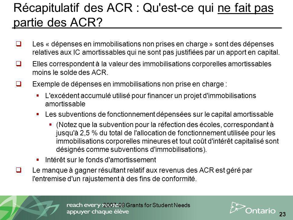 2007-08 Grants for Student Needs 23 Récapitulatif des ACR : Qu'est-ce qui ne fait pas partie des ACR? Les « dépenses en immobilisations non prises en