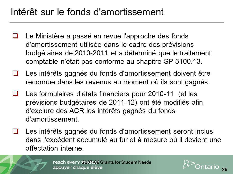 2007-08 Grants for Student Needs 26 Intérêt sur le fonds d'amortissement Le Ministère a passé en revue l'approche des fonds d'amortissement utilisée d