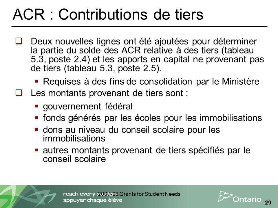 2007-08 Grants for Student Needs 29 ACR : Contributions de tiers Deux nouvelles lignes ont été ajoutées pour déterminer la partie du solde des ACR rel