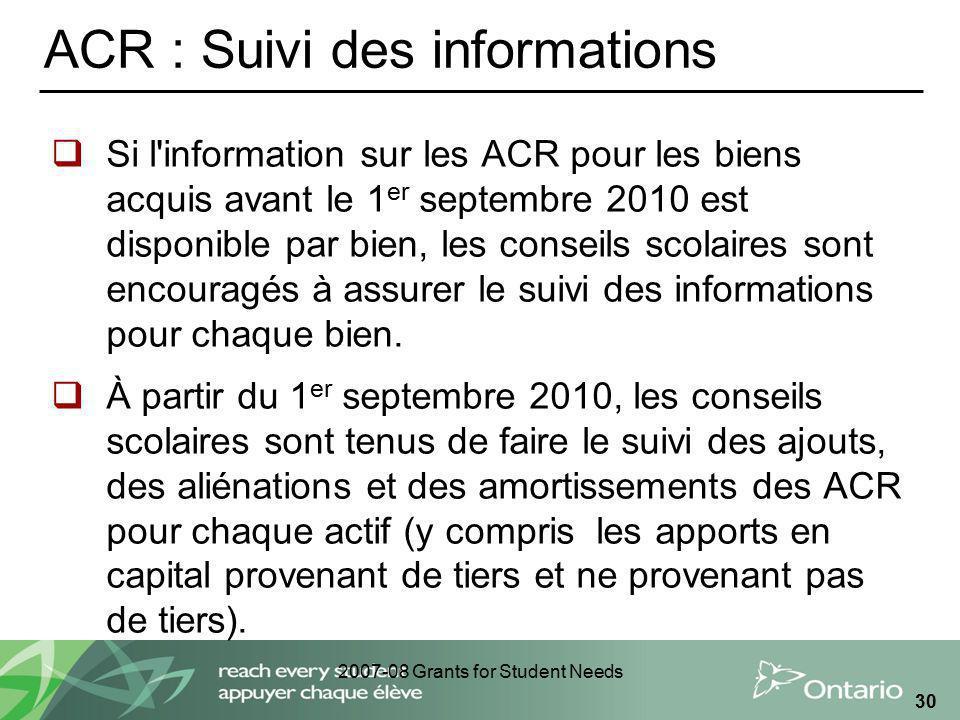 2007-08 Grants for Student Needs 30 ACR : Suivi des informations Si l'information sur les ACR pour les biens acquis avant le 1 er septembre 2010 est d