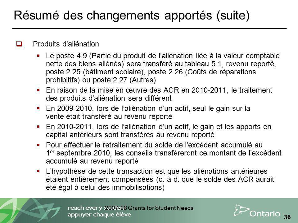 2007-08 Grants for Student Needs 36 Résumé des changements apportés (suite) Produits daliénation Le poste 4.9 (Partie du produit de laliénation liée à