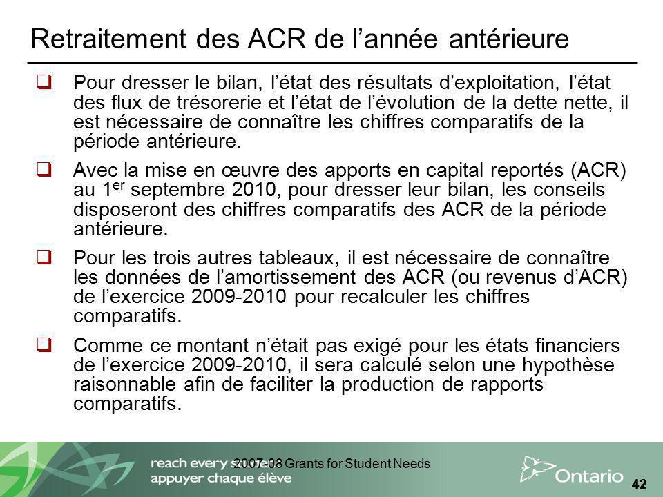2007-08 Grants for Student Needs 42 Retraitement des ACR de lannée antérieure Pour dresser le bilan, létat des résultats dexploitation, létat des flux