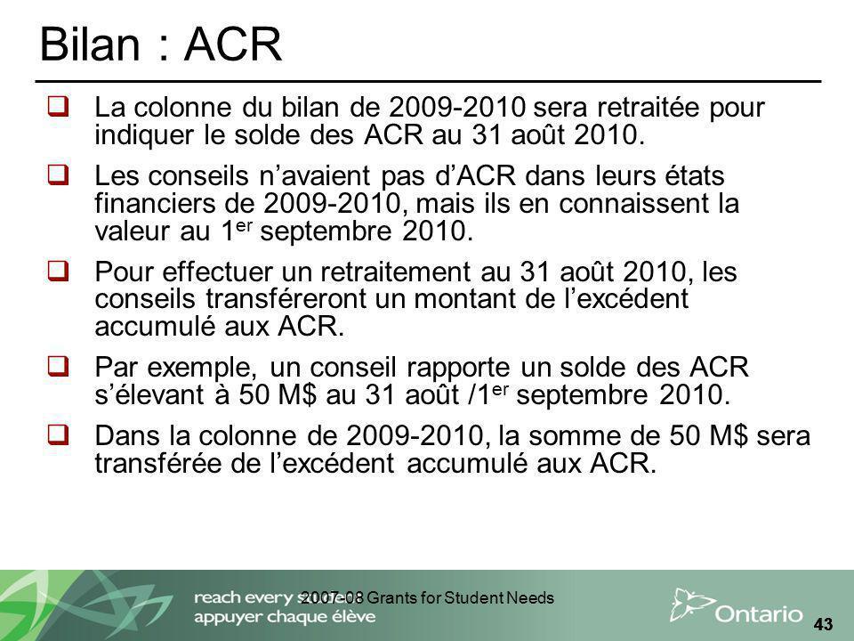 2007-08 Grants for Student Needs 43 Bilan : ACR La colonne du bilan de 2009-2010 sera retraitée pour indiquer le solde des ACR au 31 août 2010. Les co