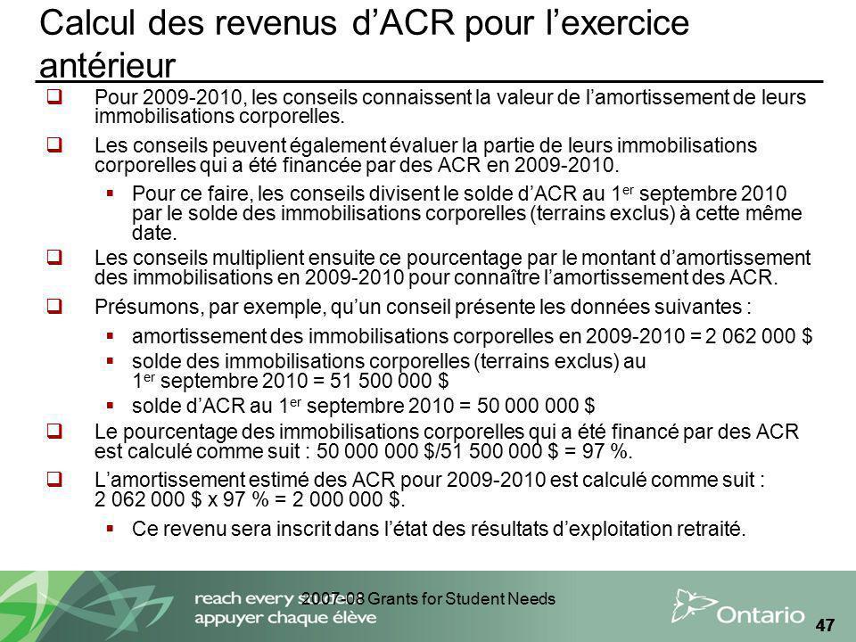 2007-08 Grants for Student Needs 47 Calcul des revenus dACR pour lexercice antérieur Pour 2009-2010, les conseils connaissent la valeur de lamortissem