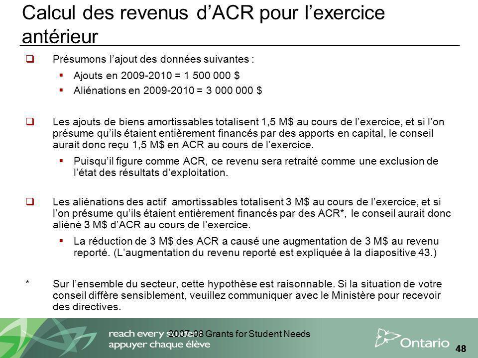 2007-08 Grants for Student Needs 48 Calcul des revenus dACR pour lexercice antérieur Présumons lajout des données suivantes : Ajouts en 2009-2010 = 1