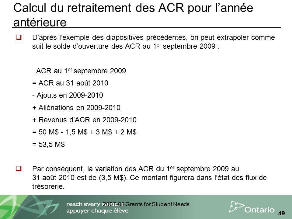 2007-08 Grants for Student Needs 49 Calcul du retraitement des ACR pour lannée antérieure Daprès lexemple des diapositives précédentes, on peut extrap