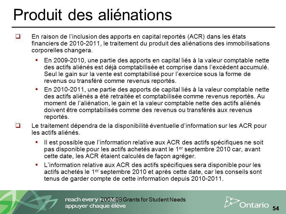2007-08 Grants for Student Needs 54 Produit des aliénations En raison de linclusion des apports en capital reportés (ACR) dans les états financiers de
