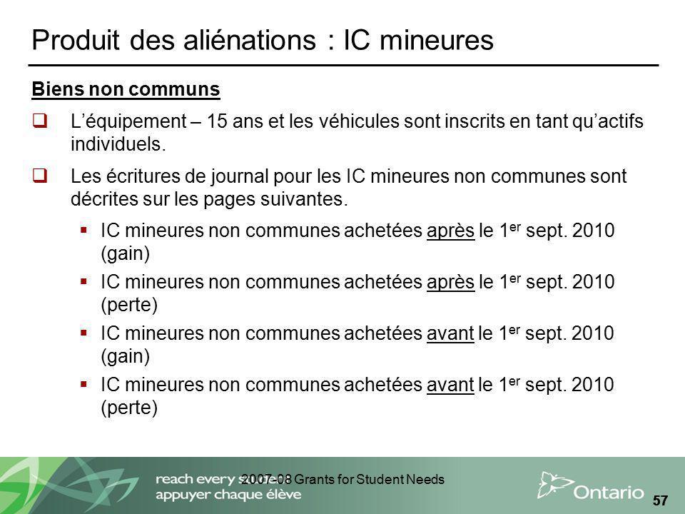 2007-08 Grants for Student Needs 57 Produit des aliénations : IC mineures Biens non communs Léquipement – 15 ans et les véhicules sont inscrits en tan
