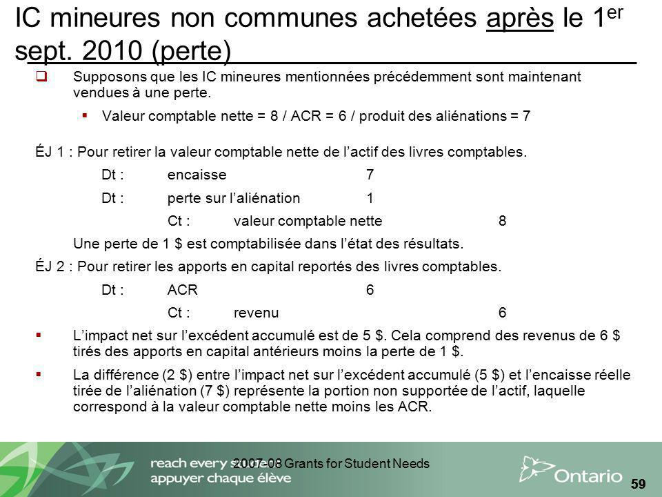 2007-08 Grants for Student Needs 59 IC mineures non communes achetées après le 1 er sept.