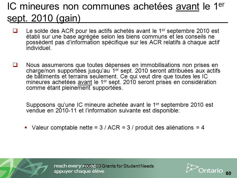 2007-08 Grants for Student Needs 60 IC mineures non communes achetées avant le 1 er sept.