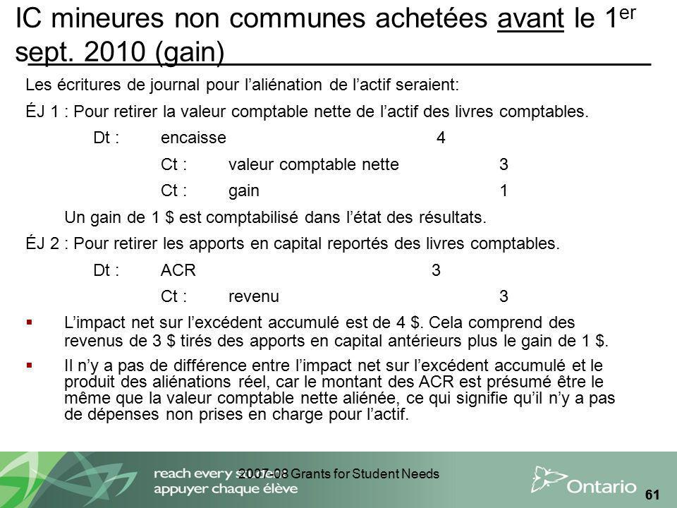 2007-08 Grants for Student Needs 61 IC mineures non communes achetées avant le 1 er sept.
