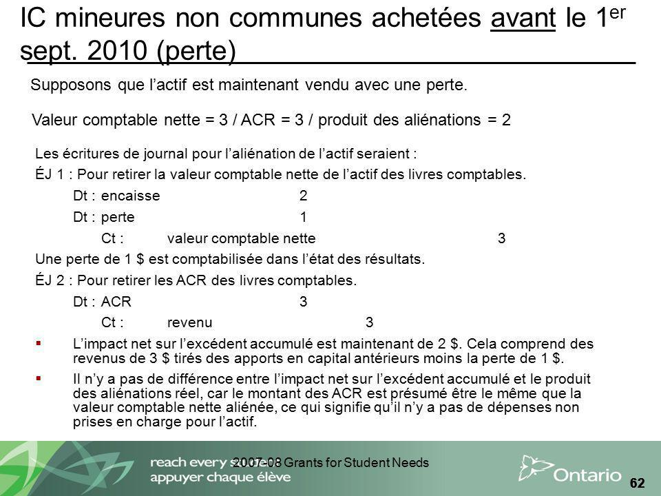 2007-08 Grants for Student Needs 62 IC mineures non communes achetées avant le 1 er sept.