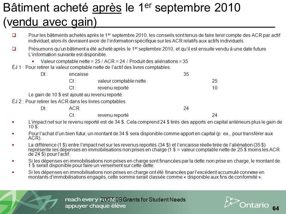 2007-08 Grants for Student Needs 64 Bâtiment acheté après le 1 er septembre 2010 (vendu avec gain) Pour les bâtiments achetés après le 1 er septembre