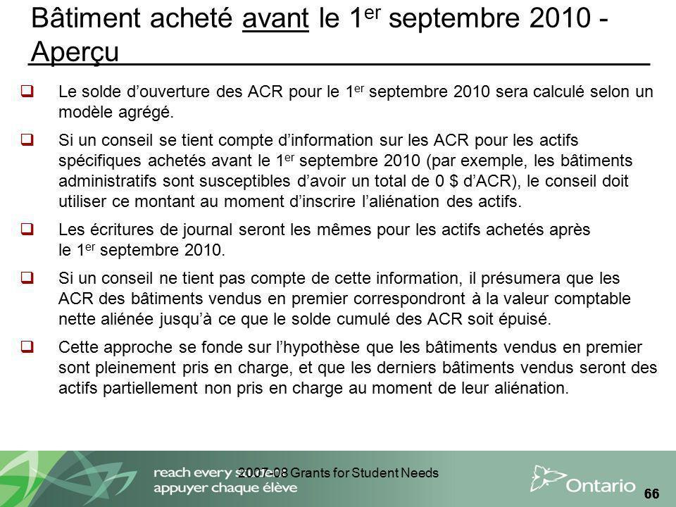 2007-08 Grants for Student Needs 66 Bâtiment acheté avant le 1 er septembre 2010 - Aperçu Le solde douverture des ACR pour le 1 er septembre 2010 sera