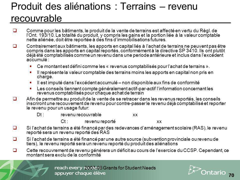 2007-08 Grants for Student Needs 70 Produit des aliénations : Terrains – revenu recouvrable Comme pour les bâtiments, le produit de la vente de terrai