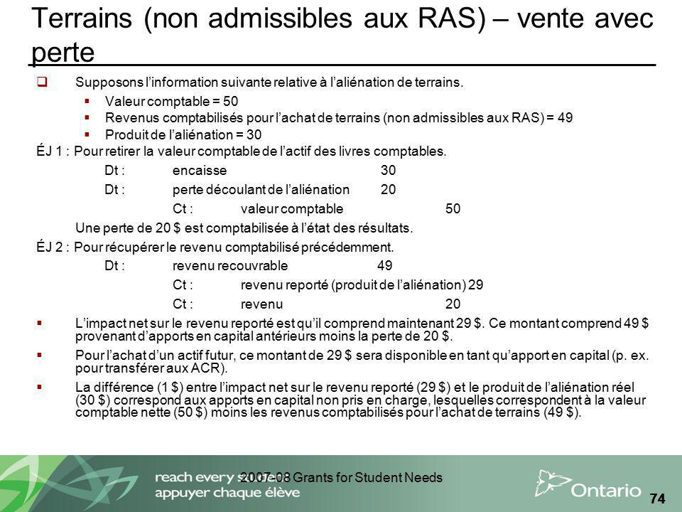 2007-08 Grants for Student Needs 74 Terrains (non admissibles aux RAS) – vente avec perte Supposons linformation suivante relative à laliénation de te