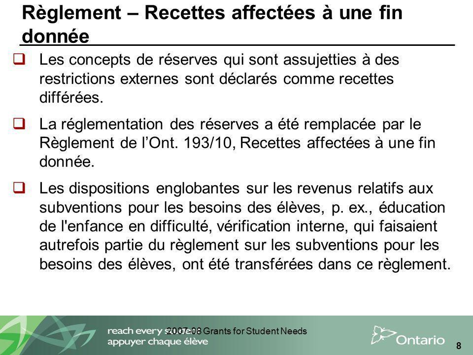 2007-08 Grants for Student Needs 8 Règlement – Recettes affectées à une fin donnée Les concepts de réserves qui sont assujetties à des restrictions ex