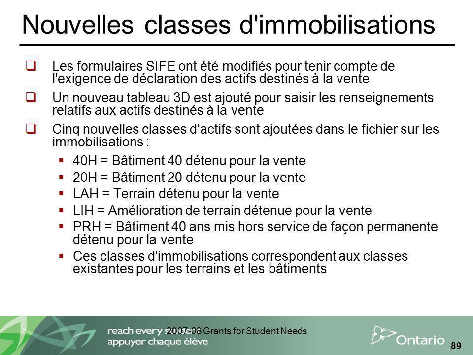 2007-08 Grants for Student Needs 89 Nouvelles classes d'immobilisations Les formulaires SIFE ont été modifiés pour tenir compte de l'exigence de décla