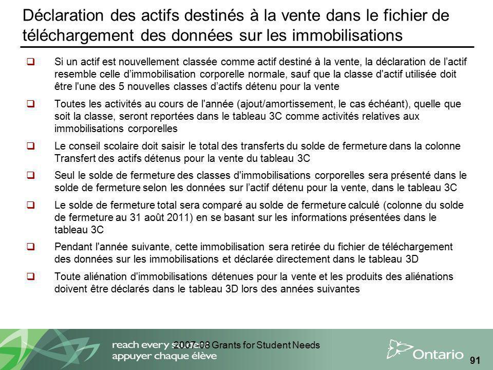 2007-08 Grants for Student Needs 91 Déclaration des actifs destinés à la vente dans le fichier de téléchargement des données sur les immobilisations S