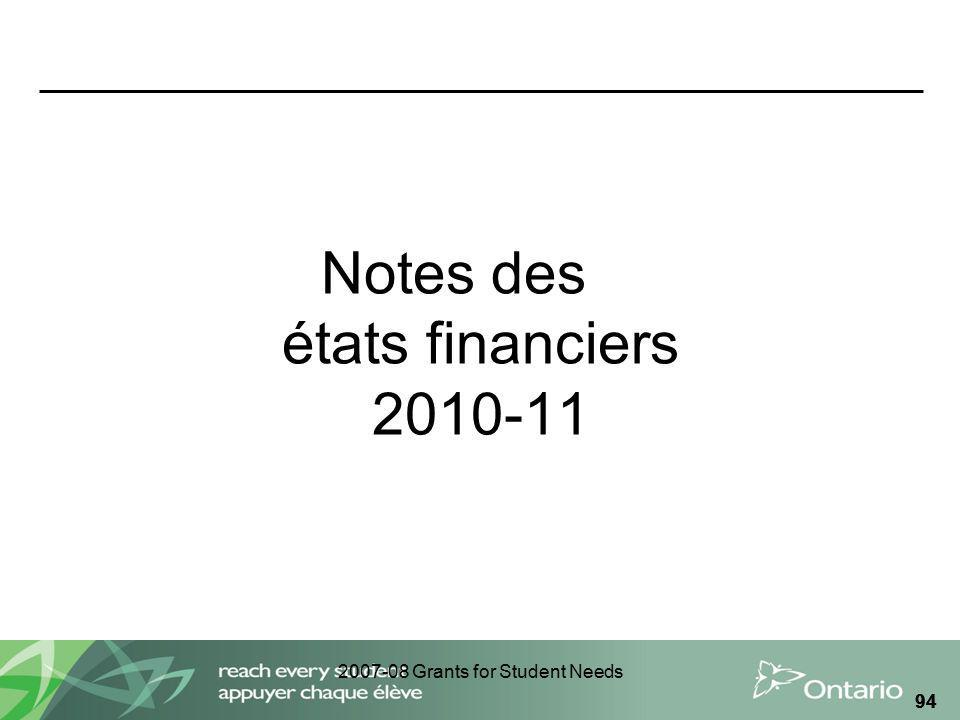 2007-08 Grants for Student Needs 94 Notes des états financiers 2010-11
