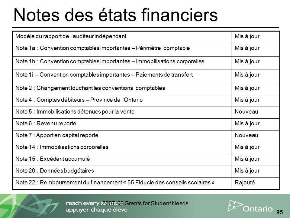 2007-08 Grants for Student Needs 95 Notes des états financiers Modèle du rapport de l'auditeur indépendantMis à jour Note 1a : Convention comptables i