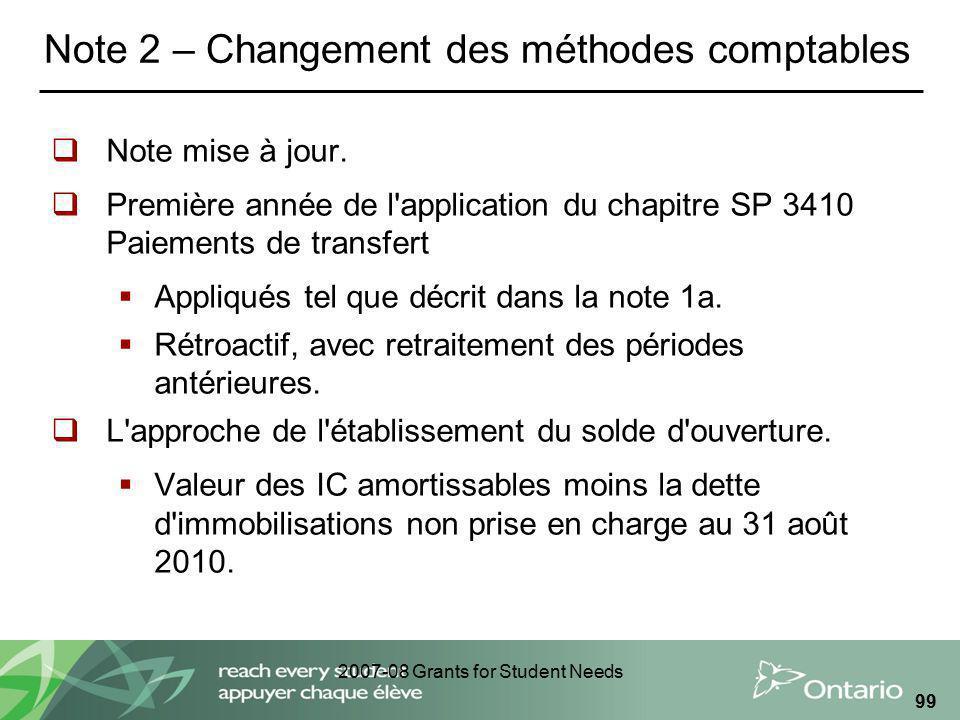 2007-08 Grants for Student Needs 99 Note 2 – Changement des méthodes comptables Note mise à jour. Première année de l'application du chapitre SP 3410