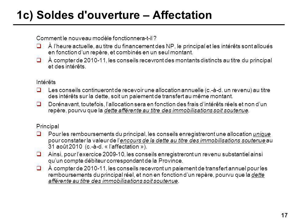17 1c) Soldes d ouverture – Affectation Comment le nouveau modèle fonctionnera-t-il .