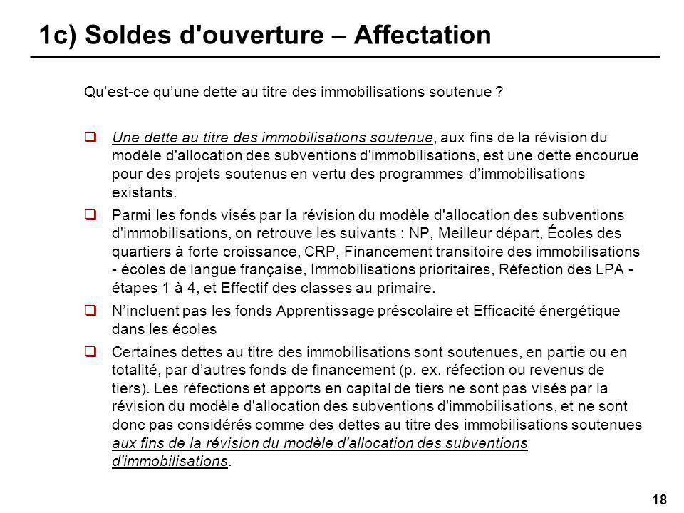 18 1c) Soldes d ouverture – Affectation Quest-ce quune dette au titre des immobilisations soutenue .