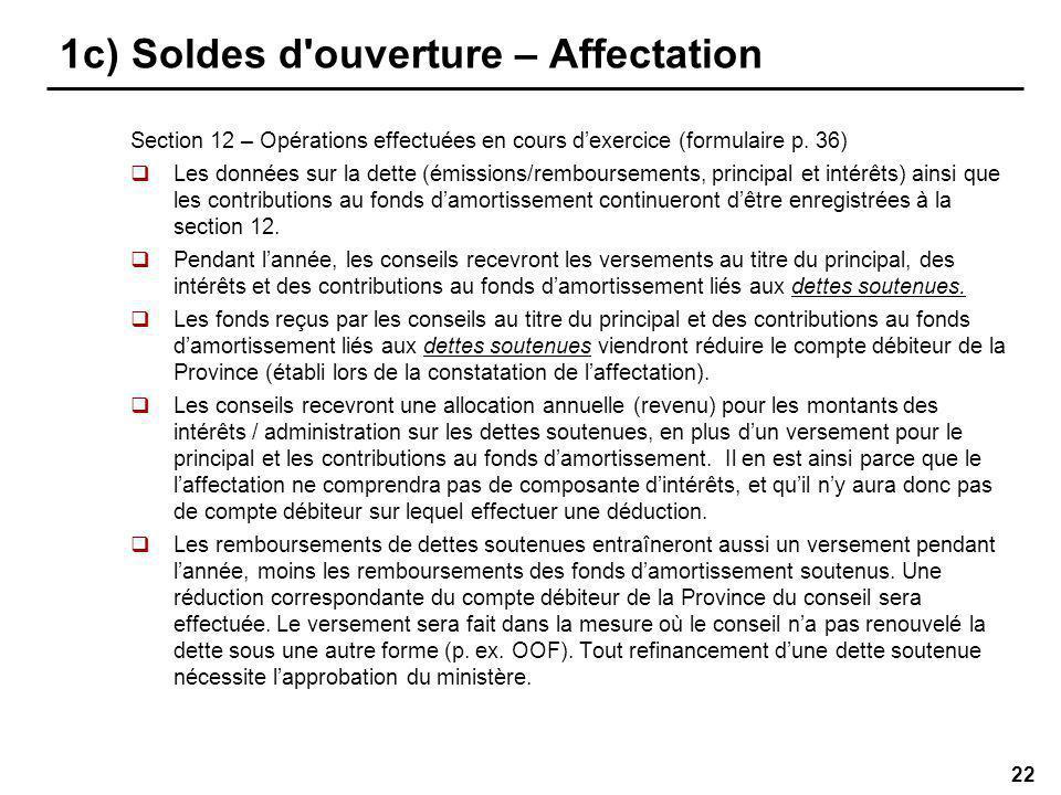22 1c) Soldes d ouverture – Affectation Section 12 – Opérations effectuées en cours dexercice (formulaire p.