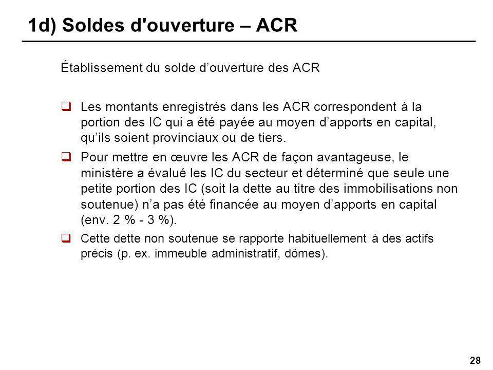 28 1d) Soldes d ouverture – ACR Établissement du solde douverture des ACR Les montants enregistrés dans les ACR correspondent à la portion des IC qui a été payée au moyen dapports en capital, quils soient provinciaux ou de tiers.