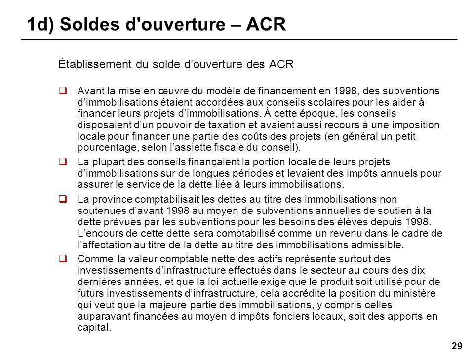 29 1d) Soldes d ouverture – ACR Établissement du solde douverture des ACR Avant la mise en œuvre du modèle de financement en 1998, des subventions dimmobilisations étaient accordées aux conseils scolaires pour les aider à financer leurs projets dimmobilisations.