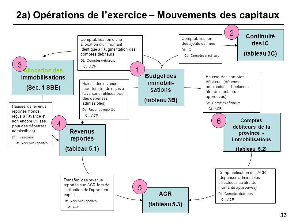33 2a) Opérations de lexercice – Mouvements des capitaux Allocation des immobilisations (Sec.