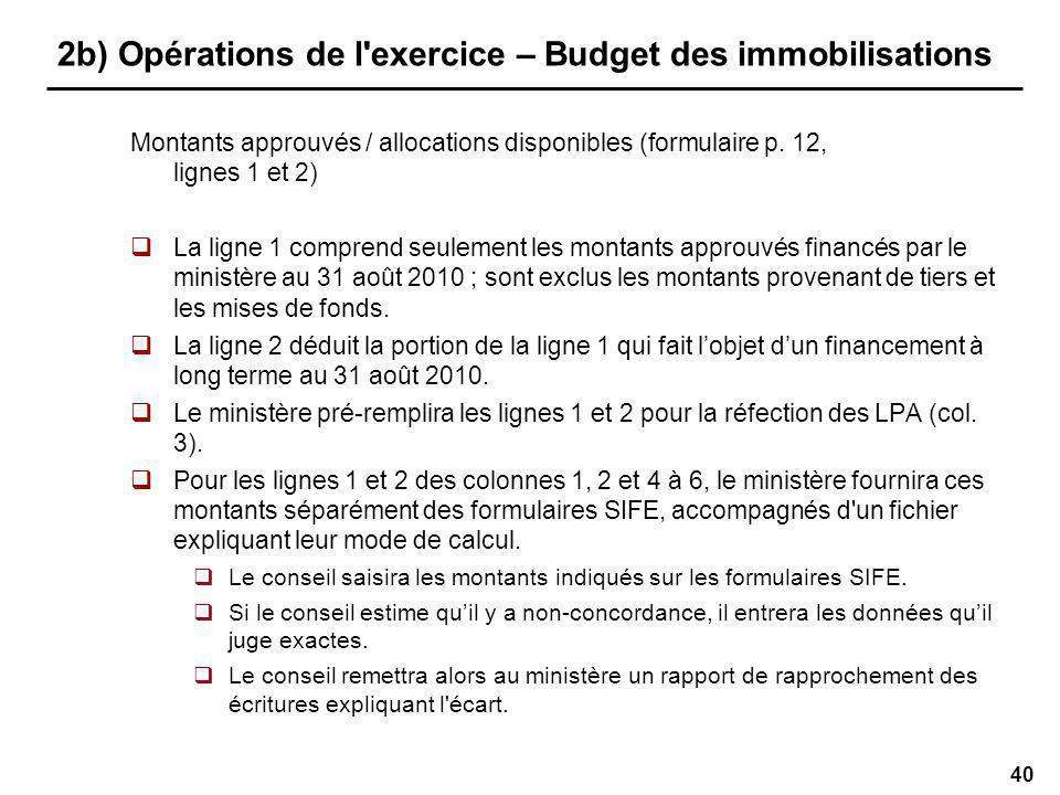 40 2b) Opérations de l exercice – Budget des immobilisations Montants approuvés / allocations disponibles (formulaire p.