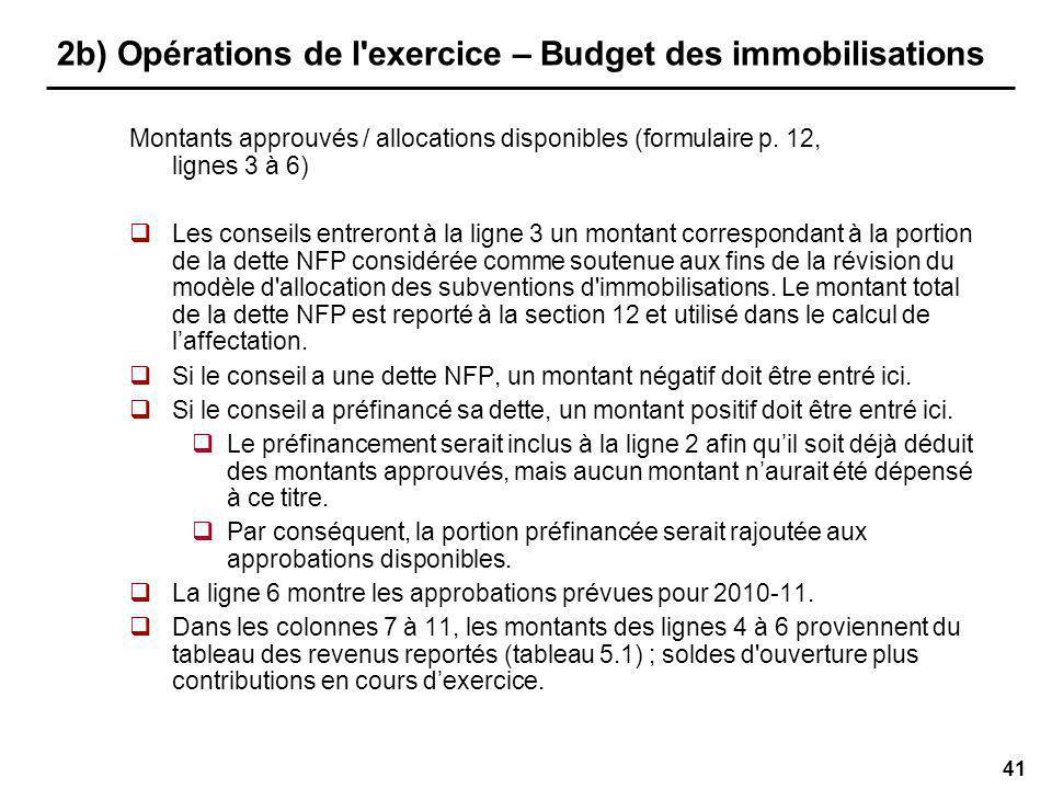 41 2b) Opérations de l exercice – Budget des immobilisations Montants approuvés / allocations disponibles (formulaire p.