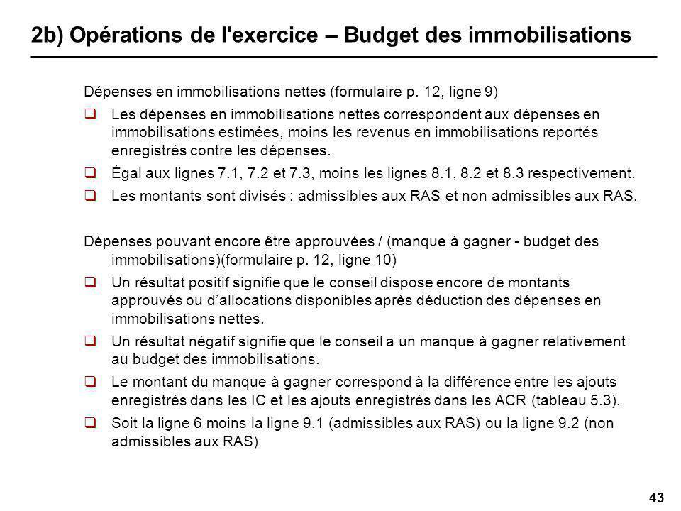 43 2b) Opérations de l exercice – Budget des immobilisations Dépenses en immobilisations nettes (formulaire p.