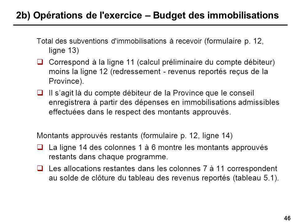 46 2b) Opérations de l exercice – Budget des immobilisations Total des subventions d immobilisations à recevoir (formulaire p.