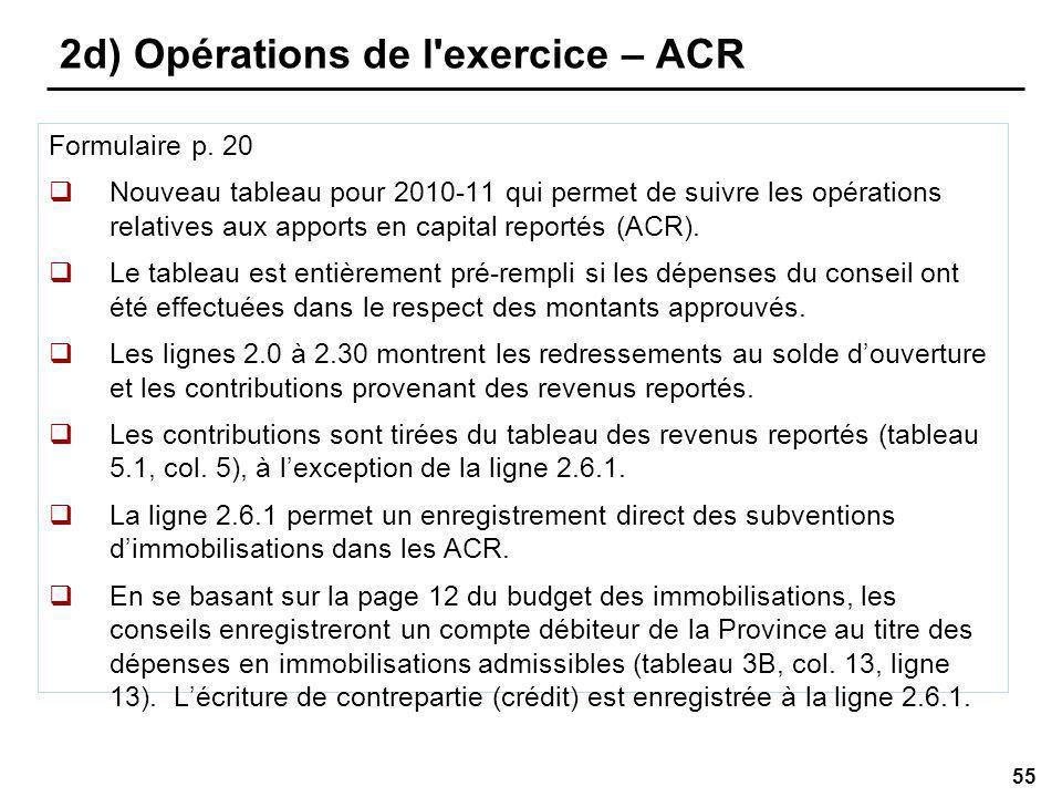 55 2d) Opérations de l exercice – ACR Formulaire p.