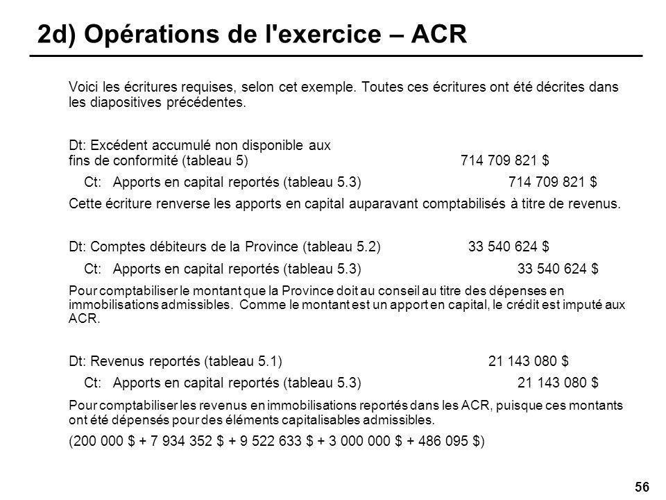56 2d) Opérations de l exercice – ACR Voici les écritures requises, selon cet exemple.