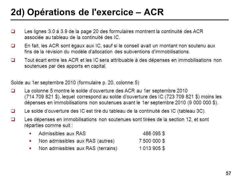 57 2d) Opérations de l exercice – ACR Les lignes 3.0 à 3.9 de la page 20 des formulaires montrent la continuité des ACR associée au tableau de la continuité des IC.