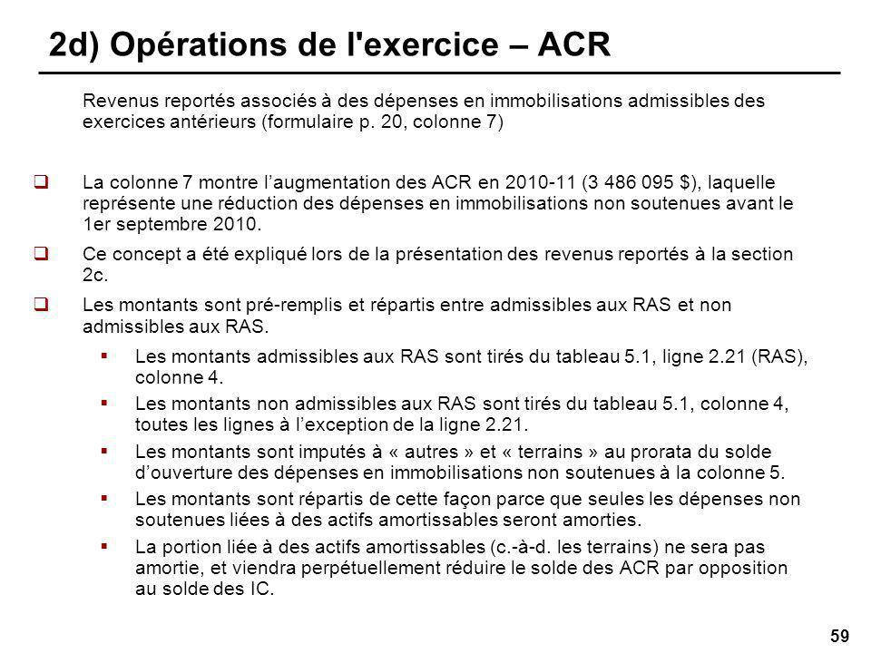 59 2d) Opérations de l exercice – ACR Revenus reportés associés à des dépenses en immobilisations admissibles des exercices antérieurs (formulaire p.