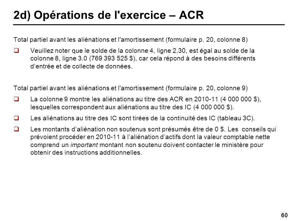 60 2d) Opérations de l exercice – ACR Total partiel avant les aliénations et l amortissement (formulaire p.