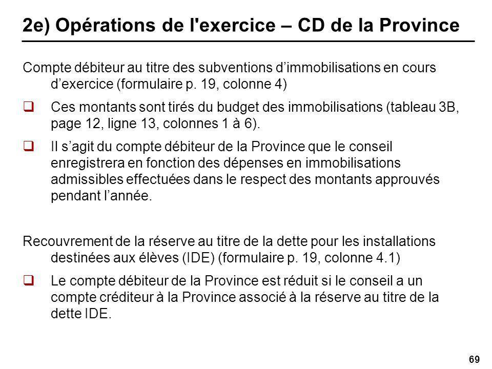 69 2e) Opérations de l exercice – CD de la Province Compte débiteur au titre des subventions dimmobilisations en cours dexercice (formulaire p.