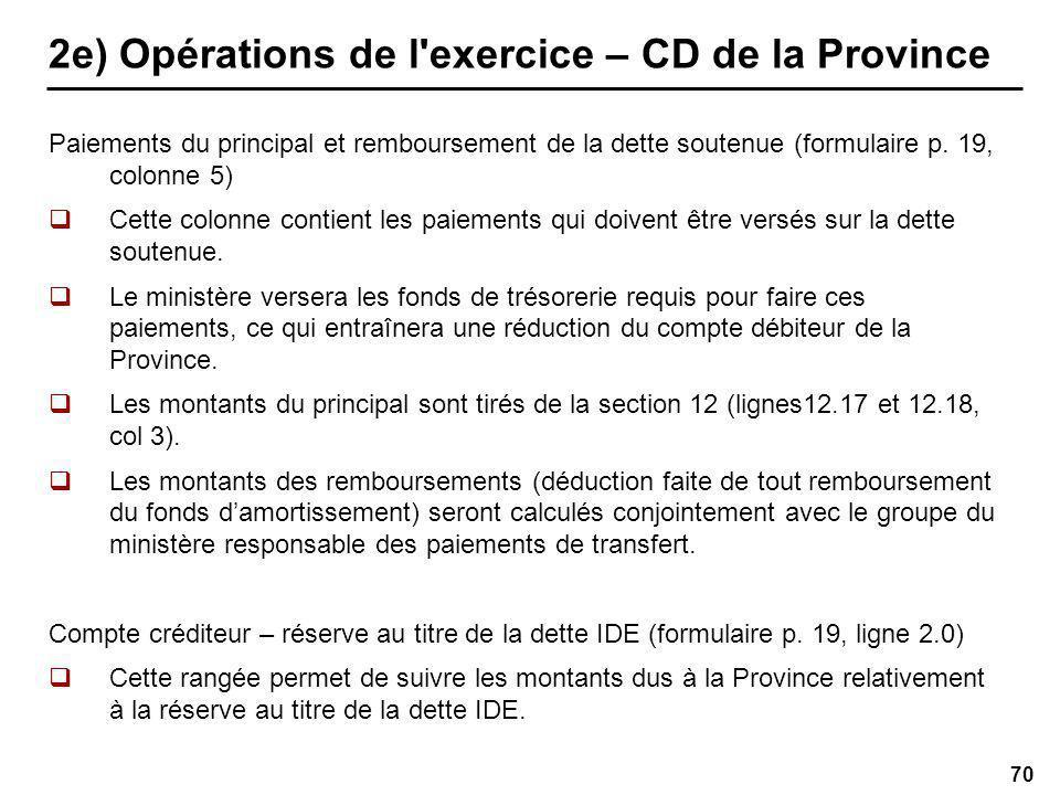 70 2e) Opérations de l exercice – CD de la Province Paiements du principal et remboursement de la dette soutenue (formulaire p.