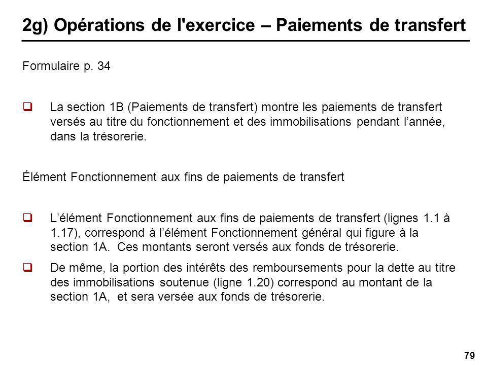 79 2g) Opérations de l exercice – Paiements de transfert Formulaire p.