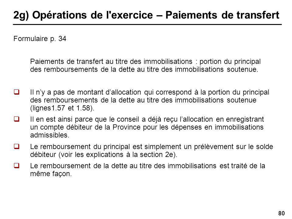 80 2g) Opérations de l exercice – Paiements de transfert Formulaire p.