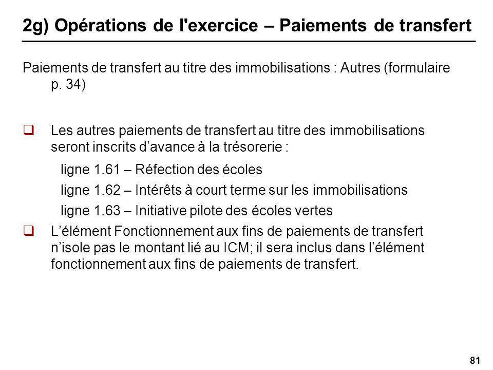 81 2g) Opérations de l exercice – Paiements de transfert Paiements de transfert au titre des immobilisations : Autres (formulaire p.