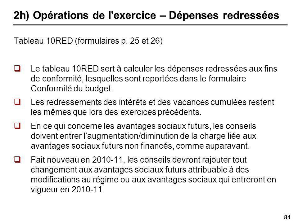 84 2h) Opérations de l exercice – Dépenses redressées Tableau 10RED (formulaires p.