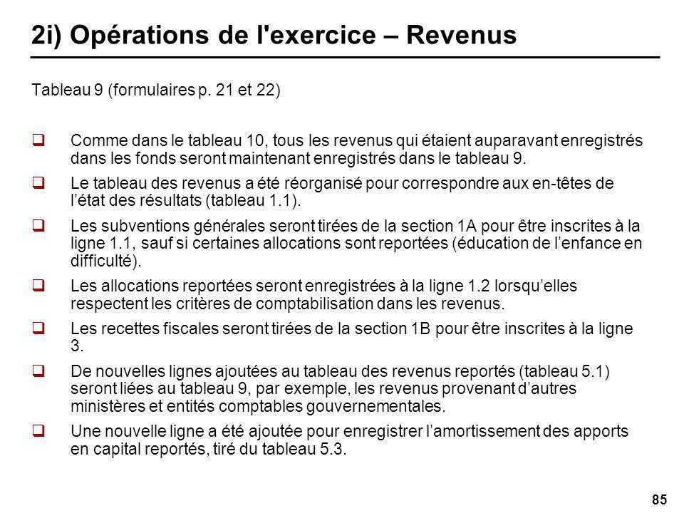 85 2i) Opérations de l exercice – Revenus Tableau 9 (formulaires p.