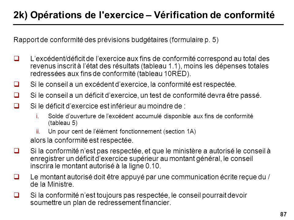 87 2k) Opérations de l exercice – Vérification de conformité Rapport de conformité des prévisions budgétaires (formulaire p.