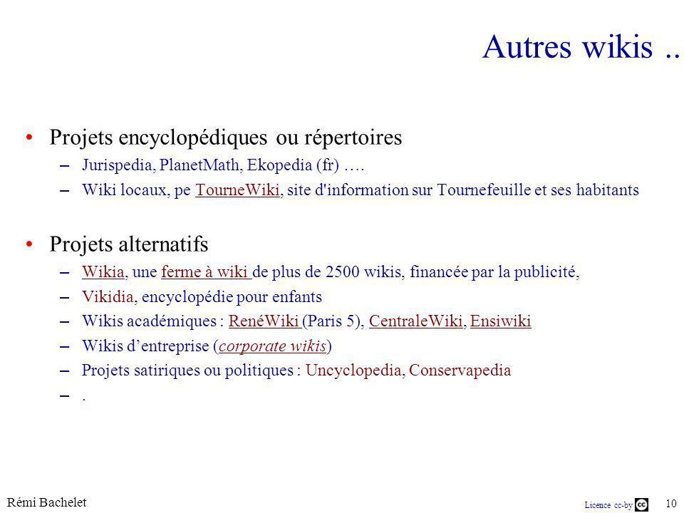 Rémi Bachelet 10 Licence cc-by Autres wikis.. Projets encyclopédiques ou répertoires – Jurispedia, PlanetMath, Ekopedia (fr) …. – Wiki locaux, pe Tour